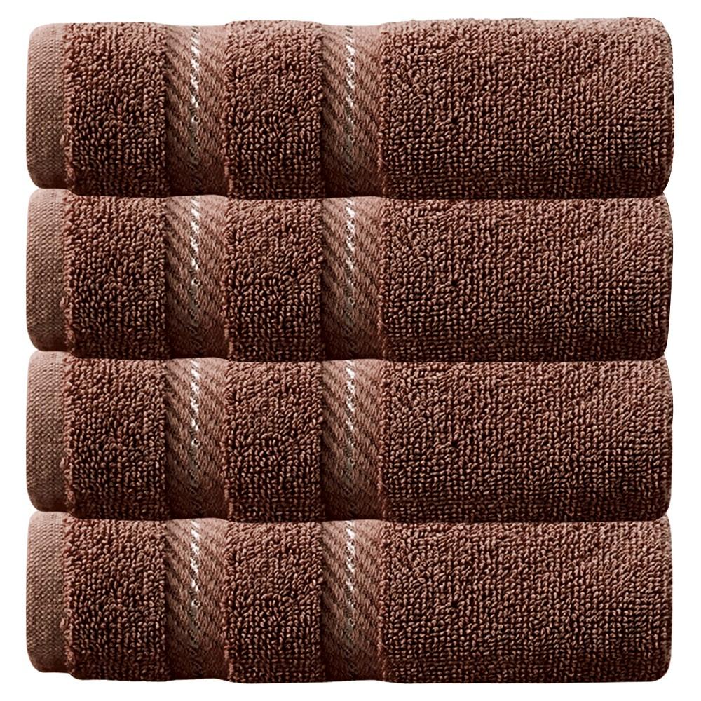 Image of 4pc Antalya Turkish Washcloth Towels Set Chocolate - Makroteks