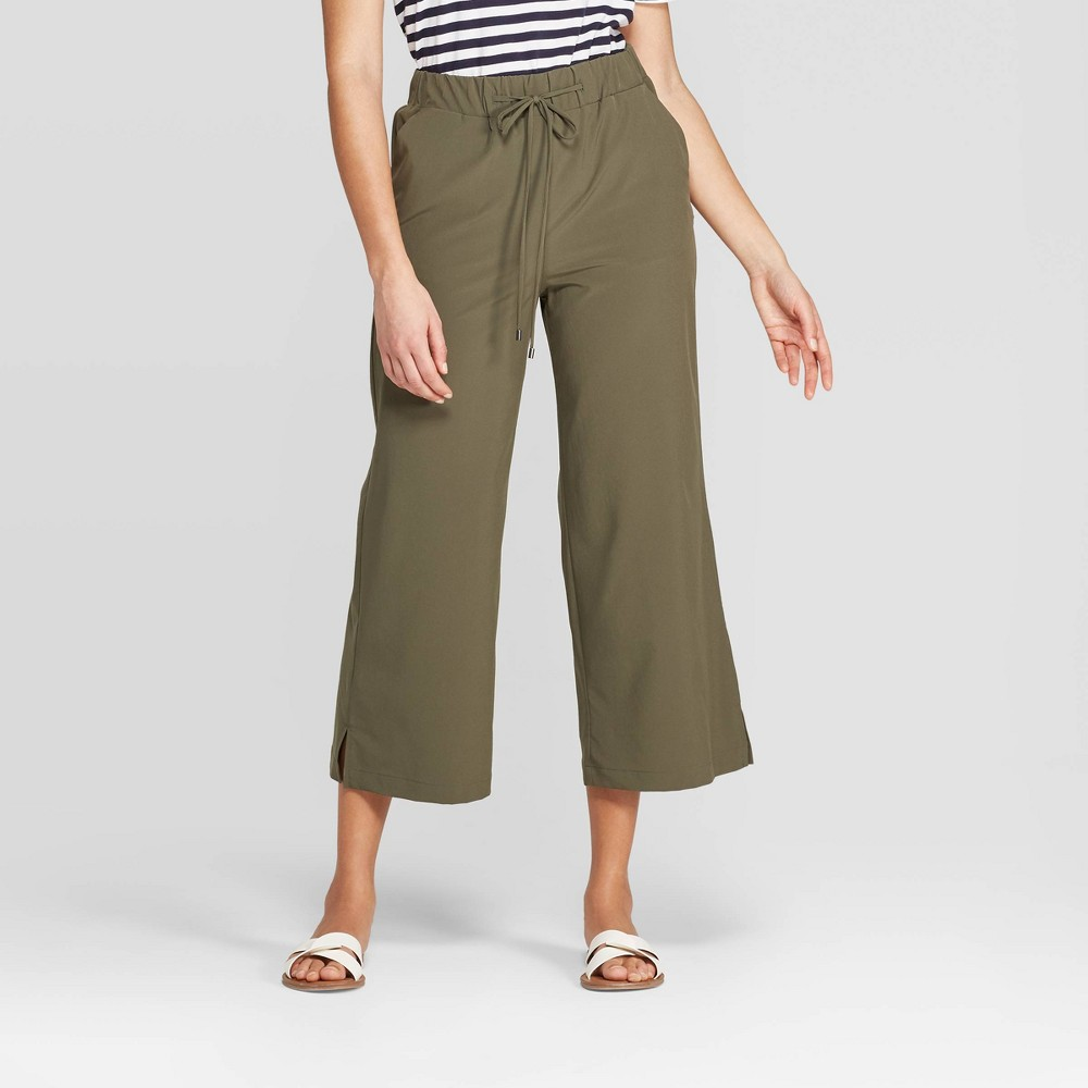 b7ce696656ead Womens Mid Rise Wide Leg Crop Pants A New Day Olive Green XL