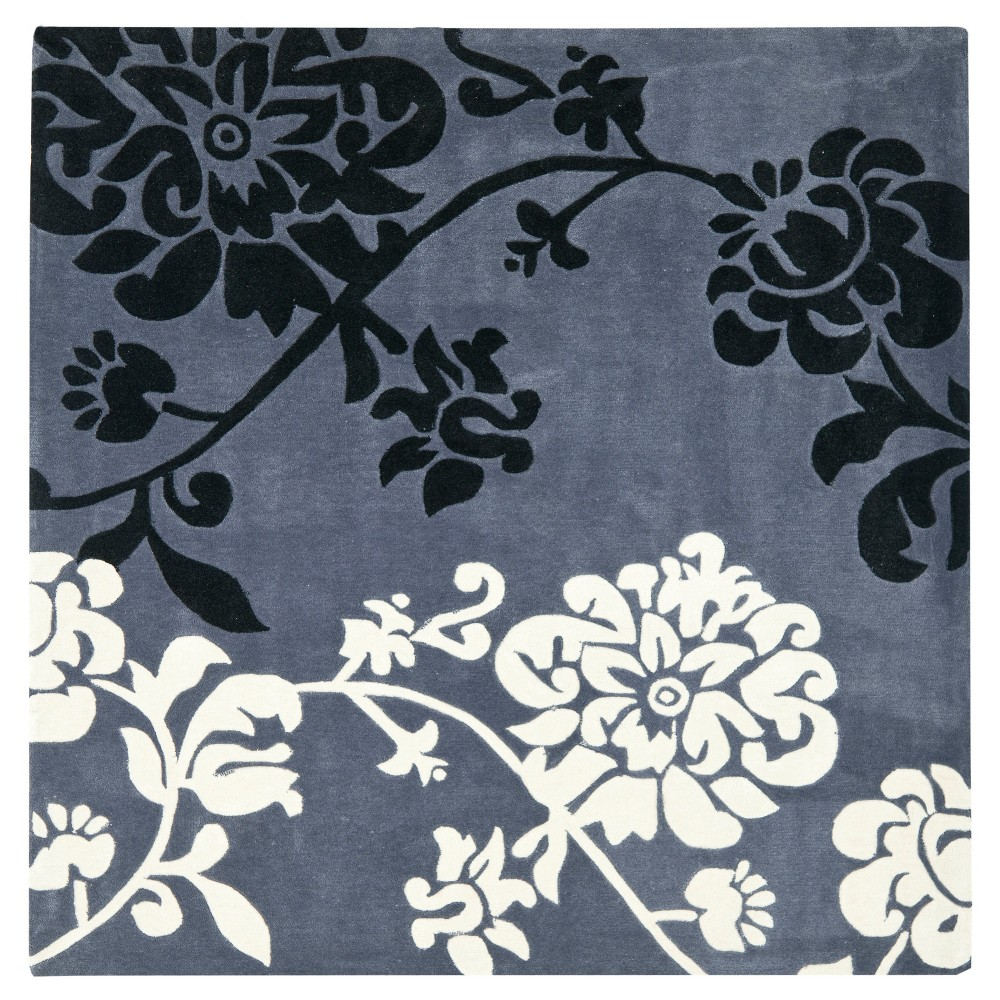 7'X7' Floral Area Rug Dark Gray - Safavieh