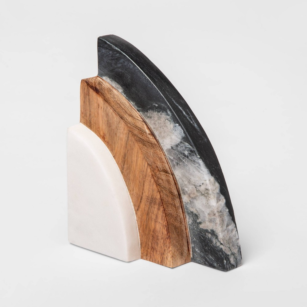 "Image of ""5"""" x 2.5"""" Marble and Wood Bookend - Project 62"""