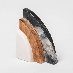 """5"""" x 2.5"""" Marble and Wood Bookend - Project 62™"""