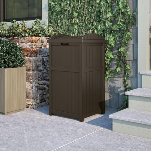 Suncast Trash Hideaway Outdoor Patio 33 Gallon Garbage Waste Can Bin Java