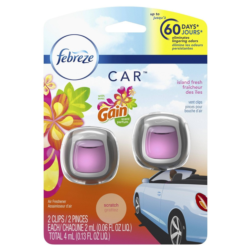 Febreze Car Island Fresh with Gain Scent Air Freshener Vent Clips - 2ct