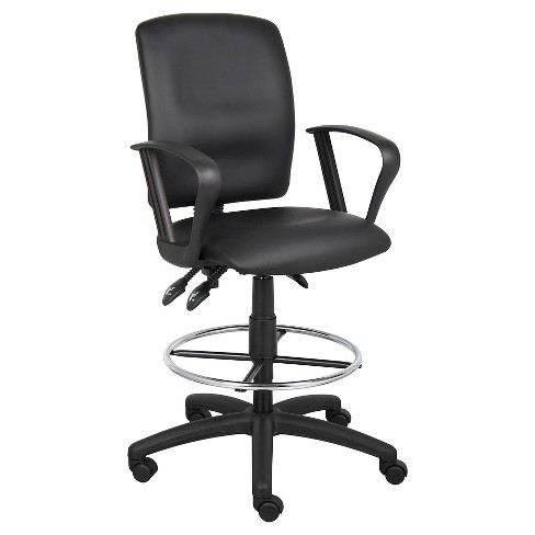 Multi-Function Leatherplus Drafting Stool with Adjustable Arms Black - Boss Office Products - image 1 of 4