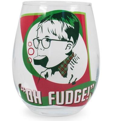 "Silver Buffalo A Christmas Story ""Oh Fudge!"" Stemless Wine Glass   Holds 20 Ounces"