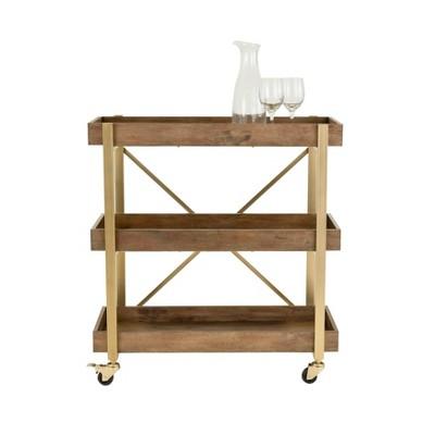 Riley 3Tier Bar Cart Gold - Adore Decor