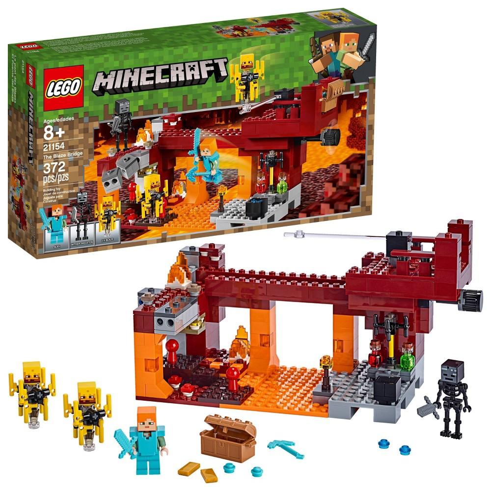 LEGO Minecraft The Blaze Bridge 21154 Toy Battle Building Kit with Bridge and Lava 370pc