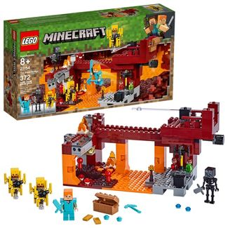 LEGO Minecraft The Blaze Bridge Toy Battle Building Kit with Bridge and Lava 21154