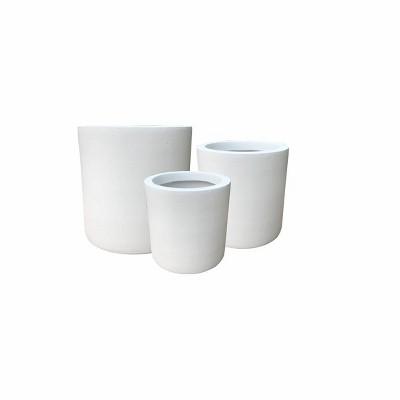 Set of 3 Kante Lightweight Concrete Modern Cylinder Outdoor Planters Pure White - Rosemead Home & Garden, Inc.