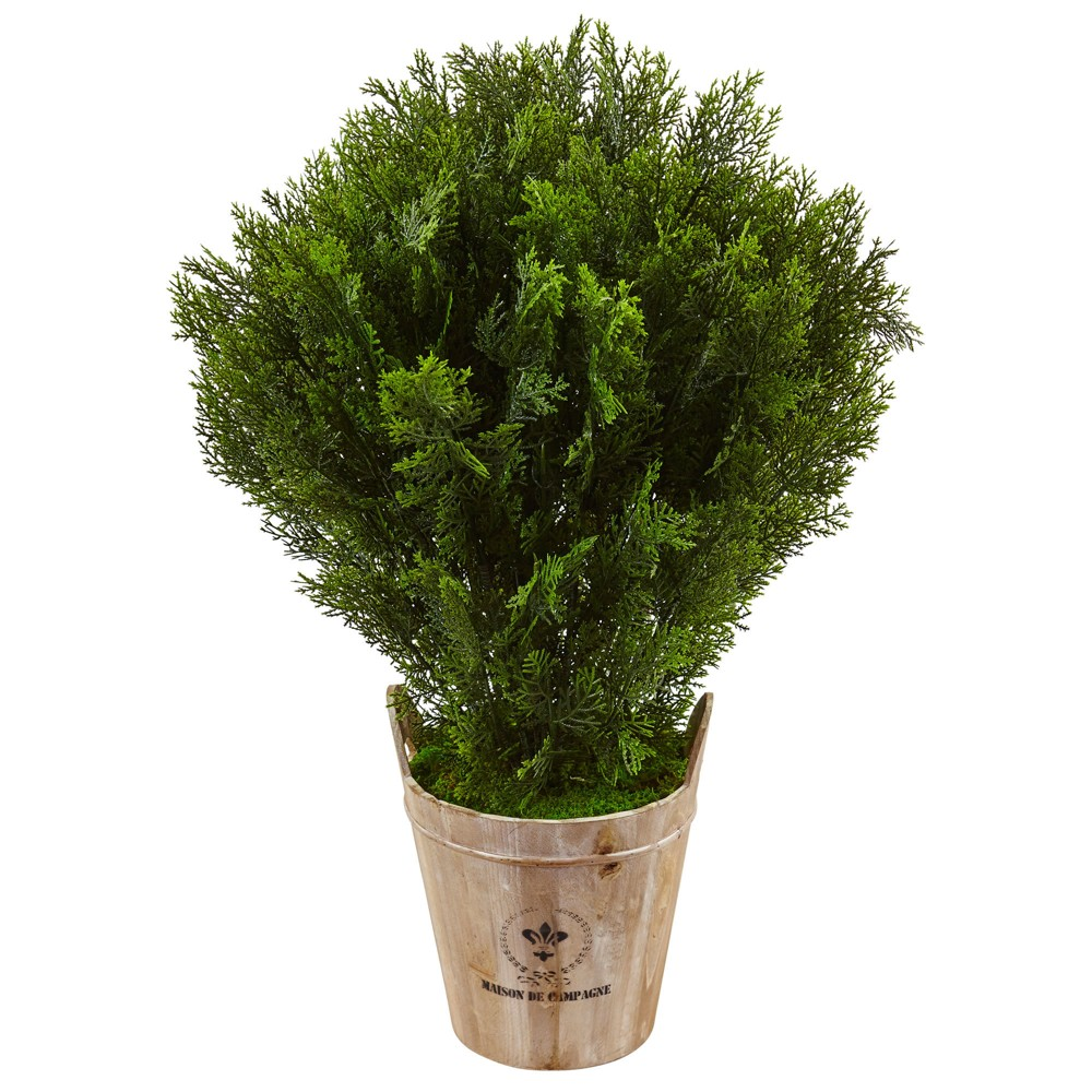 Image of 3' Cedar Artificial Plant In Barrel Planter - Nearly Natural