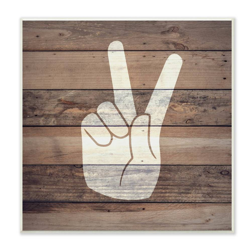 "Image of ""12""""x0.5""""x12"""" Peace Hand Distressed Wood Wall Plaque Art - Stupell Industries"""