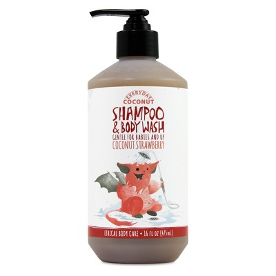 Alaffia Everyday Coconut Baby Shampoo & Body Wash, Coconut Strawberry - 16oz