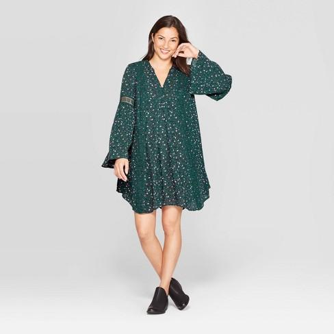 Women's Floral Print Long Sleeve Split Neck Mini Shirtdress - Knox Rose™ Green - image 1 of 2