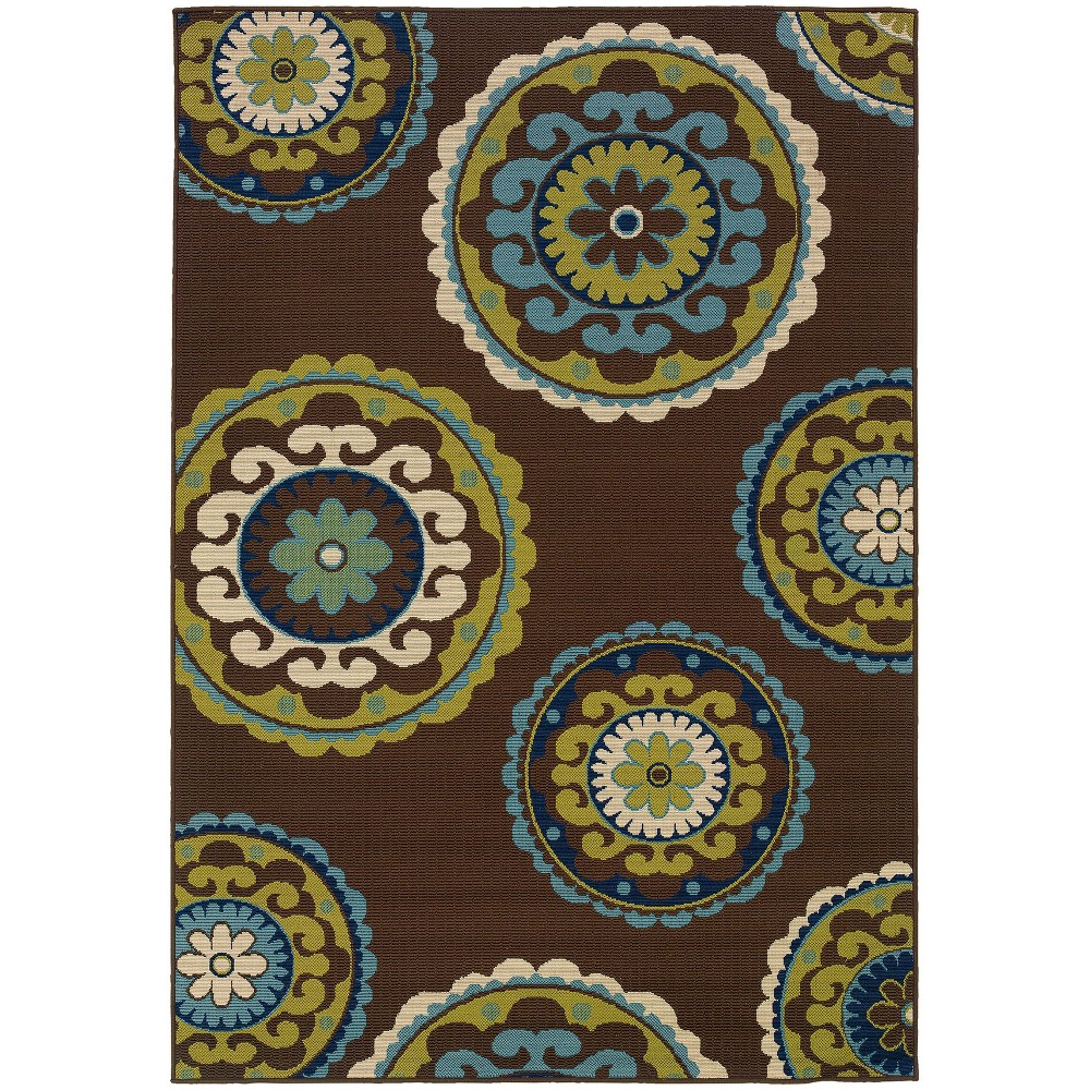 Cozumel Medallions Patio Rug Brown/Green