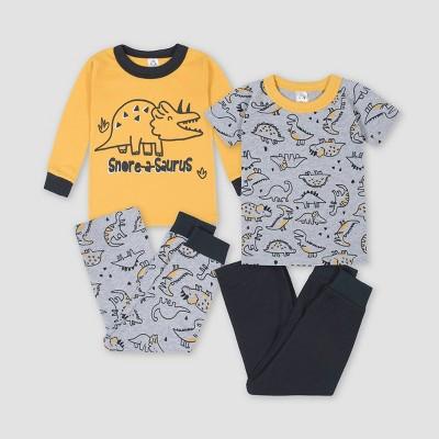 Gerber Baby Boys' 4pc Dino Snug Fit Pajama Set - Yellow/Gray 12M