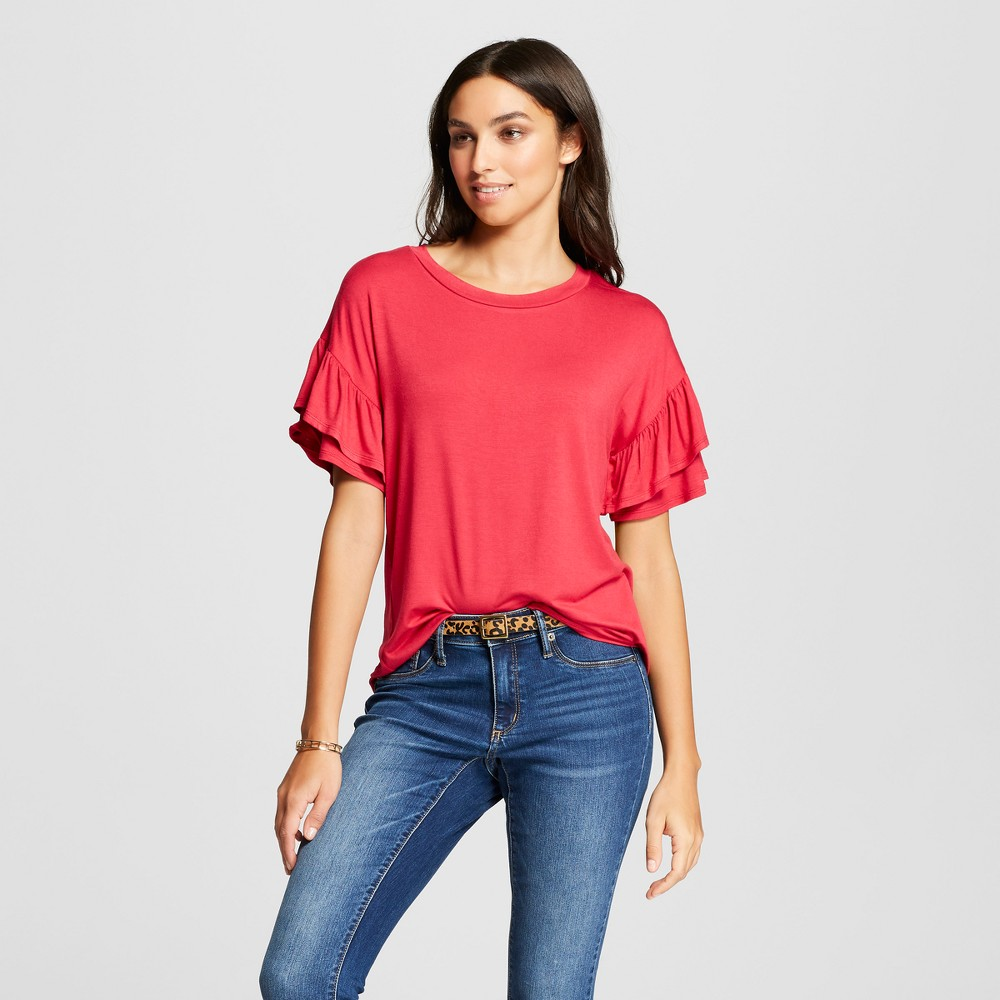Women's Short Double Ruffle Sleeve Blouse - Alison Andrews Red XL