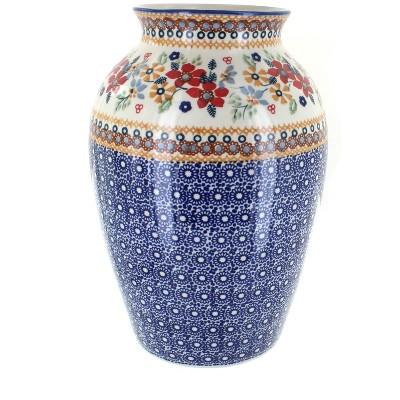Blue Rose Polish Pottery Red Daisy Large Vase