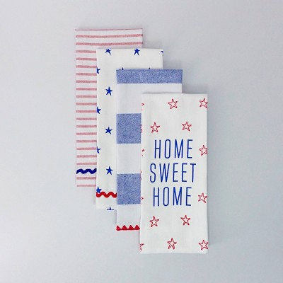 4ct Dish Towels Home Sweet Home Red/White/Blue - Bullseye's Playground™