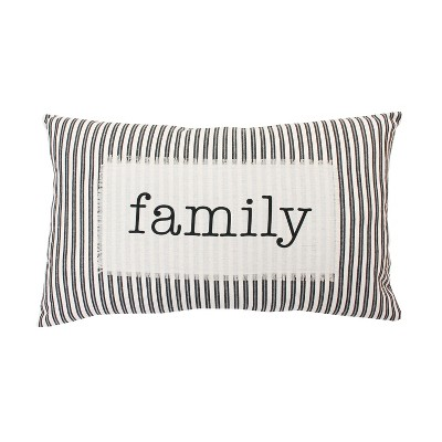 Blair Stripe Lumbar Throw Pillow Black - Décor Therapy