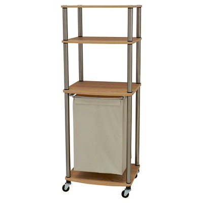 Household Essentials - Rolling Laundry Hamper Storage Cart - Natural/Light Ash