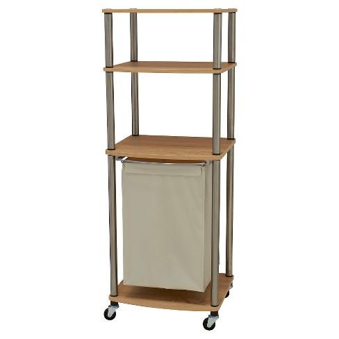 Household Essentials Rolling Laundry Hamper Storage Cart Natural/Light Ash - image 1 of 2
