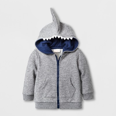 Baby Boys' French Terry Hooded Sweatshirt - Cat & Jack™ Gray 6-9M