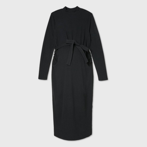 Long Sleeve Fitted Maternity Dress - Isabel Maternity by Ingrid & Isabel™ Black - image 1 of 2