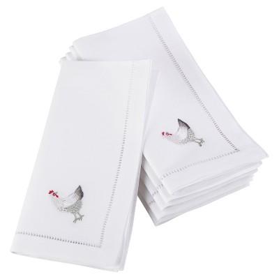 6pk White Embroidered French Hen Design Napkin 20  - Saro Lifestyle®