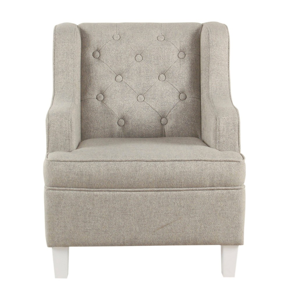 Image of Kids Tufted Textured Stain Resistant Wingback Chair Gray - HomePop