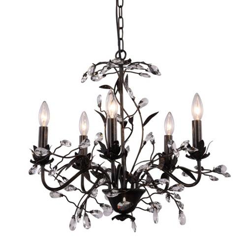 "Elegant Lighting 1222D24 Arbor 24"" Wide Crystal Accent Floral Style Chandelier - image 1 of 2"