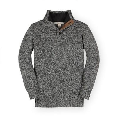 Hope & Henry Boys' Marled Yoke Detail 1/4 Button Sweater, Kids