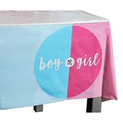 """Blue Panda 6-Pack Boy or Girl Disposable Plastic Table Cover Tablecloth 54""""x108"""" Gender Reveal Party Supplies"""