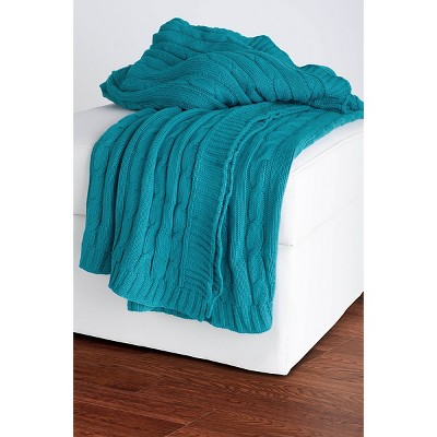 Turquoise Cable Knit Throw - Rizzy Home