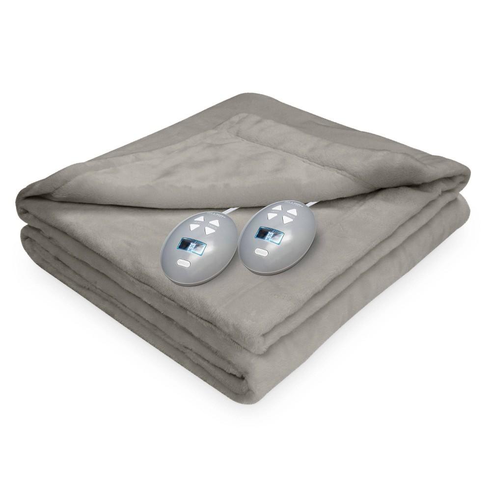 Image of Full Velvet Plush Electric Bed Blanket Gray - Soft Heat