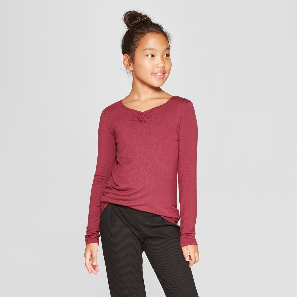 Girls' Long Sleeve Cinched Front T-Shirt - art class Maroon (Red) XS