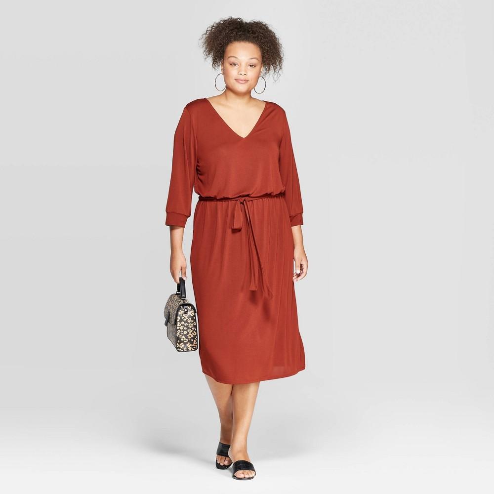 Image of Women's Plus Size 3/4 Sleeve V-Neck Sandwash Knit Midi Dress - Ava & Viv Brown 3X, Women's, Size: 3XL