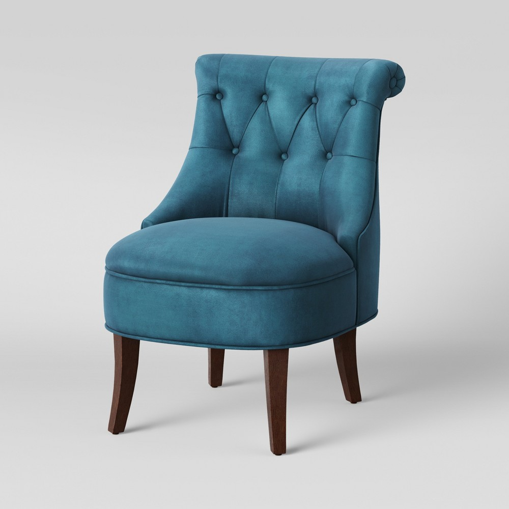 Nerine Tufted Rollback Accent Chair Velvet Blue - Assembly Required - Opalhouse