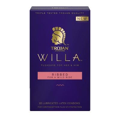 Trojan Willa Ribbed Condoms - 10ct