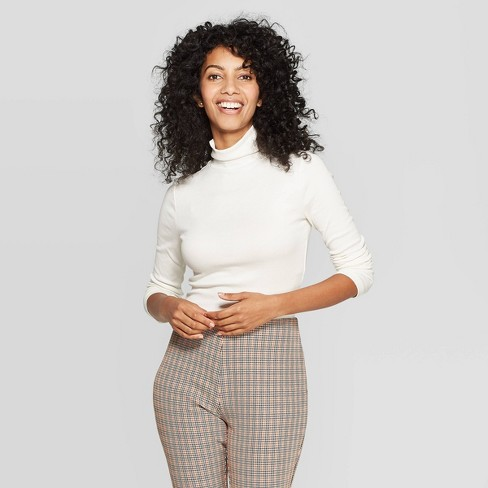 Women's Regular Fit Turtleneck Ribbed Sweatshirt - A New Day™ Sour Cream XL - image 1 of 3