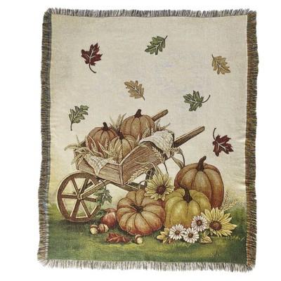 Lakeside Autumn Throw Blanket with Pumpkin, Wheelbarrow, Fall Leaves Rustic Print
