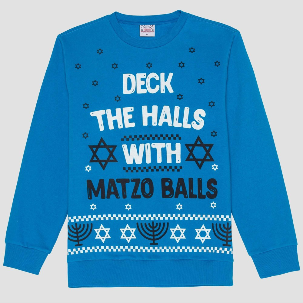 Image of Men's Matzo Balls Graphic Sweatshirt - Turquoise M, Size: Medium, Blue