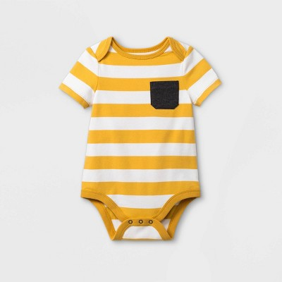 Baby Boys' Pocket Short Sleeve Bodysuit - Cat & Jack™ Yellow 0-3M