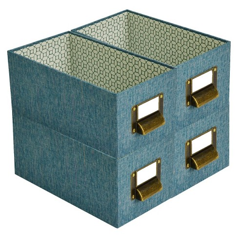 Cube Storage Bin Set of 4 Zenith Teal - Threshold™ - image 1 of 1