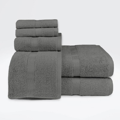 6pc Genesis Bath Towel Set Gray - Loft by Loftex