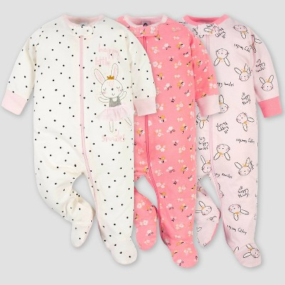Gerber Baby Girls' 3pk Ballerina Zip-Front Sleep N' Play - Pink 0-3M