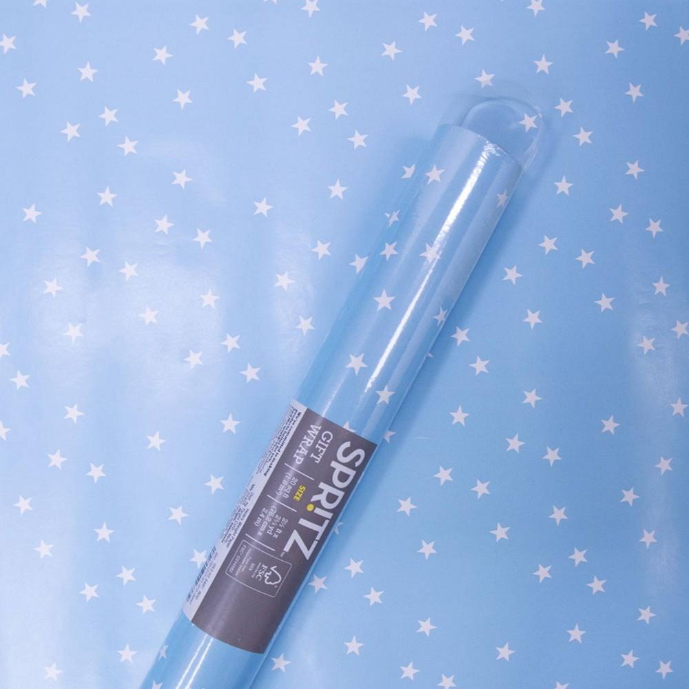 Image of Star Print Roll Wrap Blue - Spritz