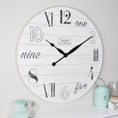 "27"" Shiplap Chic Farmhouse Wall Clock Aged White - FirsTime & Co."