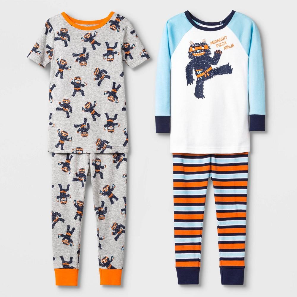 Image of Baby Boys' 4pc Pizza Ninja 100% Cotton Pajama Set - Cat & Jack White 18M, Boy's