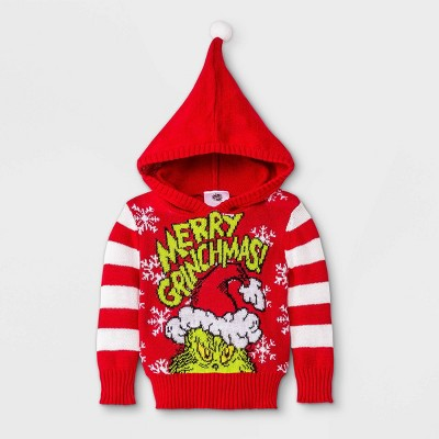 Baby The Grinch 'Merry Grinchmas' Hooded Sweater - Red