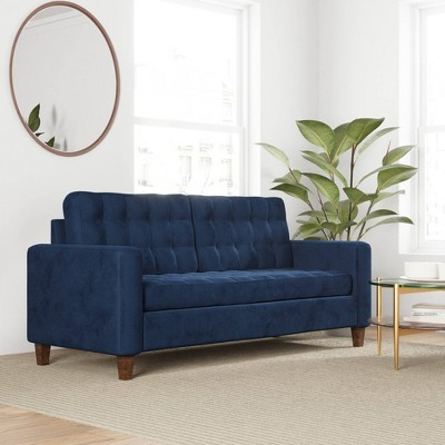 """76"""" Brynn Upholstered Square Arm Sofa with Buttonless Tufting - Brookside Home"""